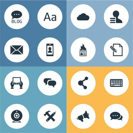 Vector Illustration Set Of Simple User Icons. Elements Site, Gazette, Overcast And Other Synonyms Gazette, Repair And Smartphone.