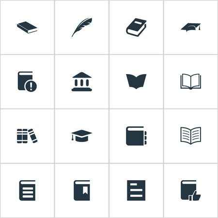 Vector Illustration Set Of Simple Reading Icons. Elements Plume, Library, Bookshelf And Other Synonyms Bookshelf, Document And Quill. Illustration