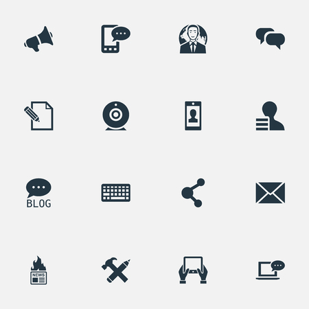 missive: Vector Illustration Set Of Simple Newspaper Icons. Elements Repair, Post, Laptop And Other Synonyms Hot, Forum And Speech.