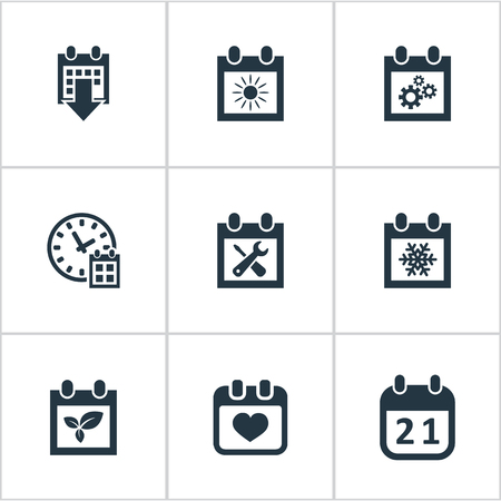 Vector Illustration Set Of Simple Calendar Icons. Elements Snowflake, Deadline, Agenda And Other Synonyms Calendar, Almanac And Sun.
