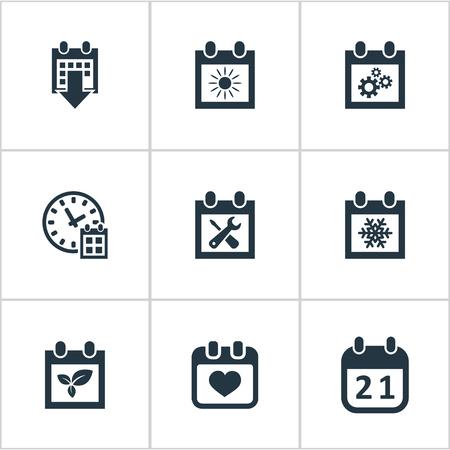 almanac: Vector Illustration Set Of Simple Calendar Icons. Elements Snowflake, Deadline, Agenda And Other Synonyms Calendar, Almanac And Sun.