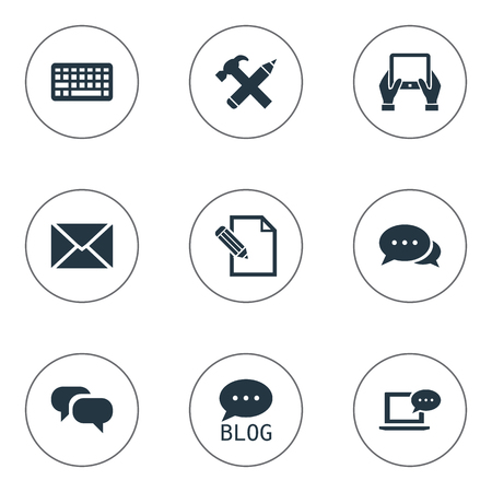 Vector Illustration Set Of Simple Blogging Icons. Elements Gossip, Document, Argument And Other Synonyms Coming, Blog And Missive. Ilustrace