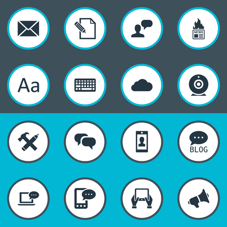 Vector Illustration Set Of Simple Blogging Icons. Elements Man Considering, Cedilla, Site And Other Synonyms News, Typography And Repair. Çizim