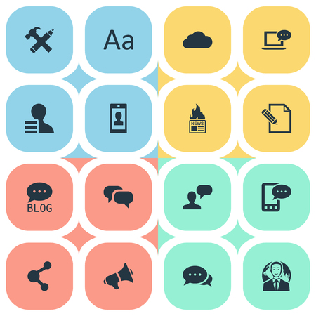 Vector Illustration Set Of Simple Blogging Icons. Elements Gossip, Cedilla, Overcast And Other Synonyms Earnings, Pen And Hot.