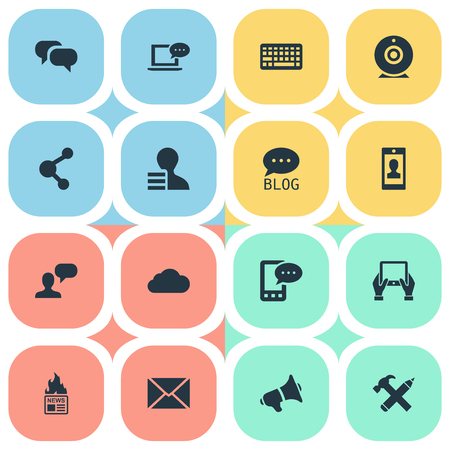 Vector Illustration Set Of Simple User Icons. Elements Post, Keypad, Broadcast And Other Synonyms E-Letter, Phone And Debate.