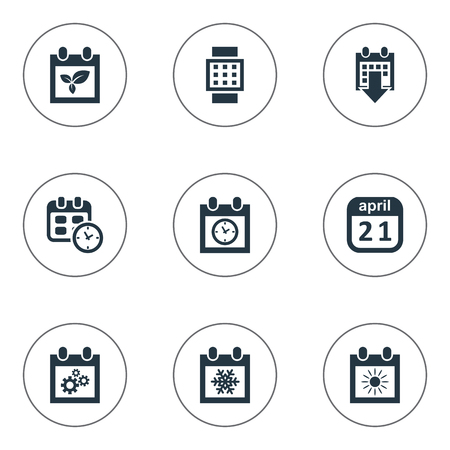 almanac: Vector Illustration Set Of Simple Calendar Icons. Elements Almanac, Intelligent Hour, Summer Calendar And Other Synonyms Gear, Summer And Almanac.