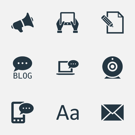 Vector Illustration Set Of Simple User Icons. Elements Broadcast, Site, E-Letter And Other Synonyms Web, Phone And Coming.