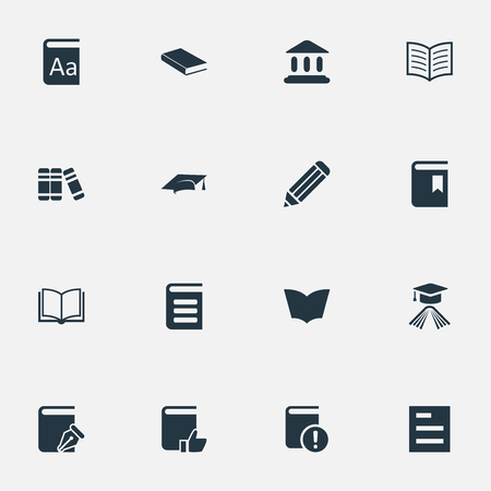 Illustration Set Of Simple Knowledge Icons. Elements Tasklist, Notebook, Recommended Reading And Other Synonyms Writing, Notebook And Bookshelf.