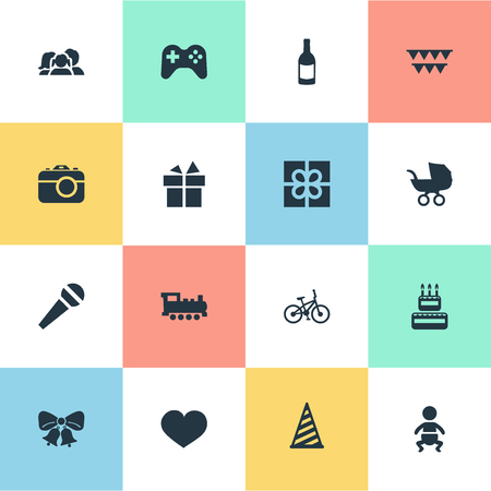 Vector Illustration Set Of Simple Holiday Icons. Elements Infant, Beverage, Decorations; And Other Synonyms Bike, Infant And Joystick.
