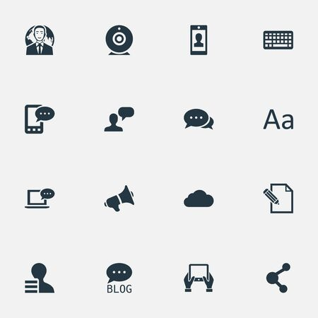 writing on screen: Illustration Set Of Simple User Icons. Elements Argument, Profile, Gain And Other Synonyms Blog, E-Letter And Forum.