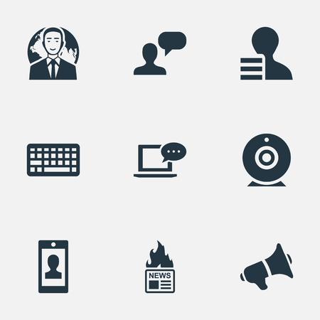 Vector Illustration Set Of Simple Blogging Icons. Elements Gain, Broadcast, Laptop And Other Synonyms Web, Debate And Profit.