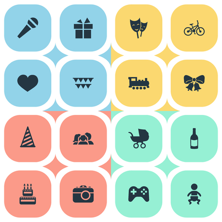 mother and baby: Vector Illustration Set Of Simple Celebration Icons. Elements Speech, Confectionery, Mask And Other Synonyms Photo, Confectionery And Heart. Illustration