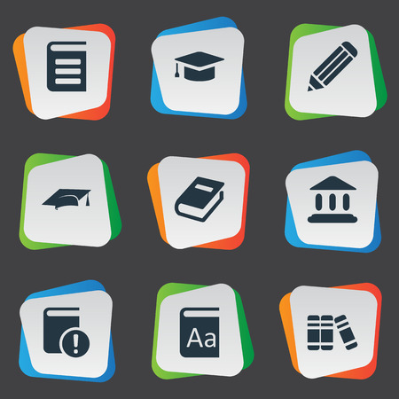 computer education: Vector Illustration Set Of Simple Knowledge Icons. Elements Alphabet, Academic Cap, Pen And Other Synonyms Pen, Book And Bookshelf.