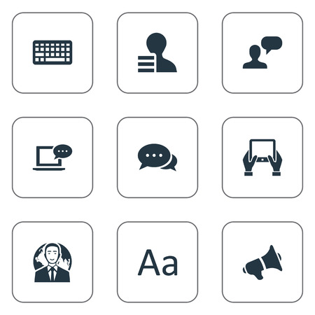 Vector Illustration Set Of Simple Newspaper Icons. Elements Cedilla, Notepad, Argument And Other Synonyms Argument, Hand And Profit.