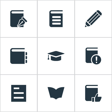 Vector Illustration Set Of Simple Education Icons. Elements Recommended Reading, Journal, Encyclopedia And Other Synonyms Book, Graduation And Hat.