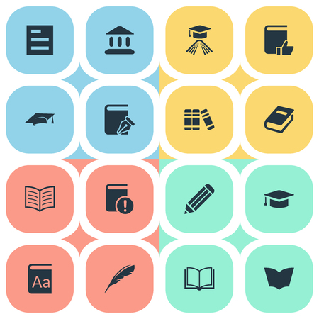 Vector Illustration Set Of Simple Books Icons. Elements Important Reading, Bookshelf, Pen And Other Synonyms Hat, Sketchbook And Quill.