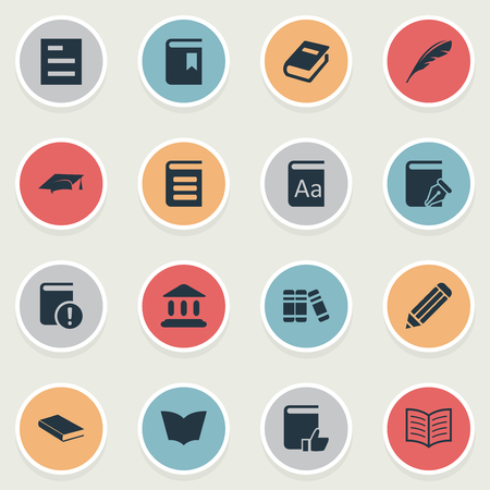Vector Illustration Set Of Simple Books Icons. Elements Academic Cap, Notebook, Recommended Reading And Other Synonyms Encyclopedia, Literature And Quill. Ilustração
