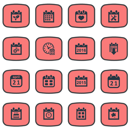 Vector Illustration Set Of Simple Time Icons. Elements Renovation Tools, Planner, Date Block And Other Synonyms Spring, History And Time.