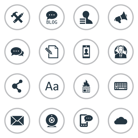 Vector Illustration Set Of Simple Blogging Icons. Elements Loudspeaker, Keypad, Argument And Other Synonyms Laptop, Cloud And Man.