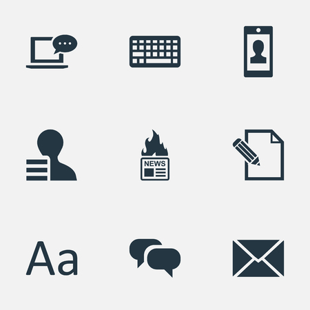 Vector Illustration Set Of Simple Blogging Icons. Elements Cedilla, Post, Gain And Other Synonyms Keyboard, Cedilla And Hot. Ilustrace