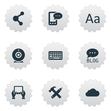 Vector Illustration Set Of Simple Blogging Icons. Elements Notepad, Cedilla, Keypad And Other Synonyms Cedilla, Camera And Keyboard.