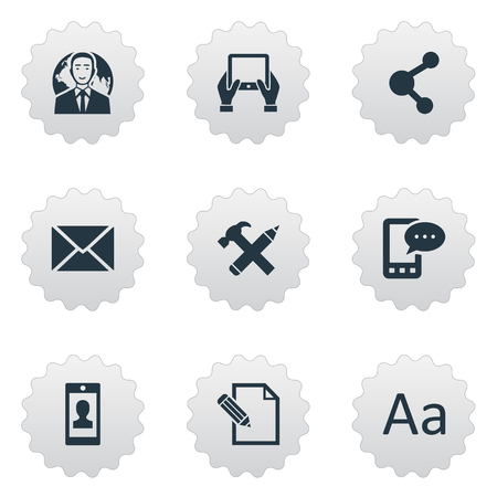 Vector Illustration Set Of Simple Newspaper Icons. Elements Notepad, Document, Share And Other Synonyms Profile, Hammer And Post.