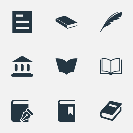 literature: Vector Illustration Set Of Simple Reading Icons. Elements Notebook, Blank Notebook, Tasklist And Other Synonyms Quill, Plume And Sketchbook.