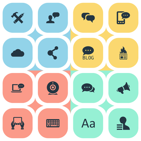 Vector Illustration Set Of Simple Blogging Icons. Elements Man Considering, Notepad, Loudspeaker And Other Synonyms Overcast, Pencil And Laptop.