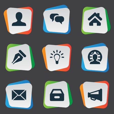 Illustrazione vettoriale Set di icone semplici del commercio. Elementi anonimi, casa, posta in arrivo e altri sinonimi anonimi, umani e altoparlanti. Archivio Fotografico - 76256999
