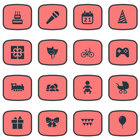 Vector Illustration Set Of Simple Celebration Icons. Elements Speech, Resonate, Domestic And Other Synonyms Mask, Balloon And Decorations.