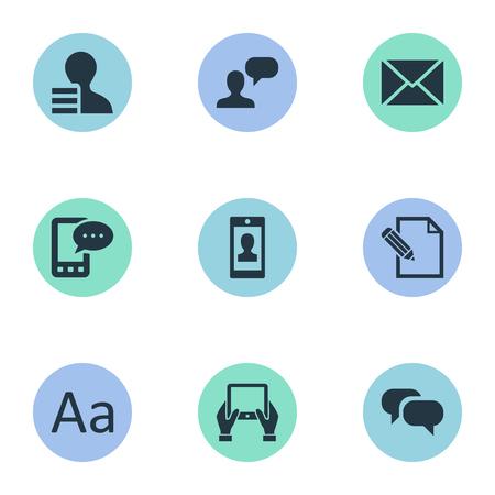 Vector illustratie Set van eenvoudige bloggen pictogrammen. Elements Post, Cedilla, Gain en andere synoniemenwinst, winst en hand. Stock Illustratie