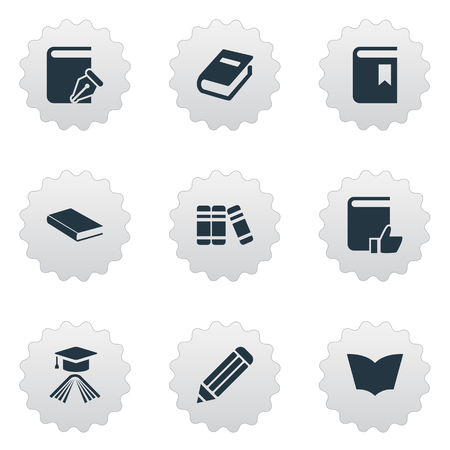 Vector Illustration Set Of Simple Education Icons. Elements Notebook, Bookshelf, Graduation Hat And Other Synonyms Write, Notebook And Bookshelf.