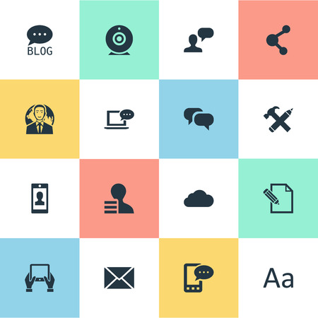 Vector Illustration Set Of Simple User Icons. Elements Notepad, Post, Share And Other Synonyms Hammer, Epistle And Alphabet.