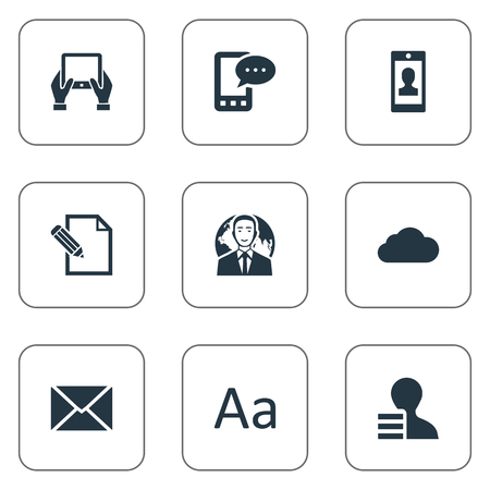 벡터 일러스트 레이 션 간단한 블로깅 아이콘의 집합입니다. 요소 흐린, 이익, 문서 및 기타 동의어 글로브, 게시물 및 흐린.