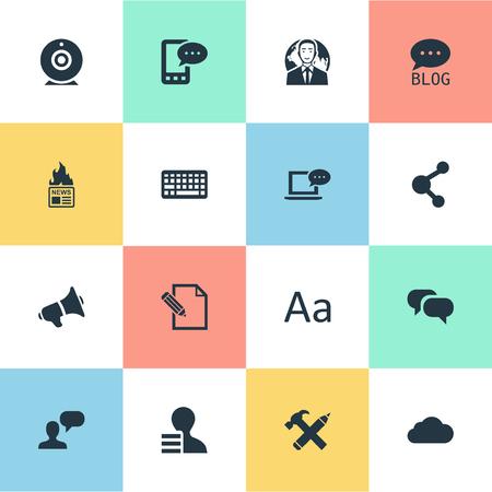 Vector illustratie Set van eenvoudige bloggen pictogrammen. Elementen reparatie, laptop, e-brief en andere synoniemen overwegen, roddelen en uitzenden.