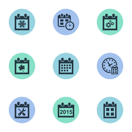almanac: Vector Illustration Set Of Simple Calendar Icons. Elements Snowflake, Date, Annual And Other Synonyms Almanac, Time And Repair.