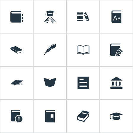 Vector Illustration Set Of Simple Reading Icons. Elements Reading, Notebook, Book Cover And Other Synonyms Catalog, Page And Important. Illustration