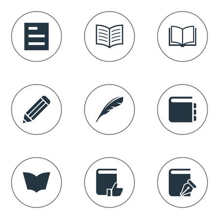 Ilustración vectorial Conjunto de iconos de educación simple. Elementos Plume, página de libro, lectura recomendada y otra nota de sinónimos, libro y lápiz. Foto de archivo - 76257775