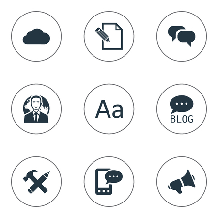 Vector Illustration Set Of Simple Newspaper Icons. Elements E-Letter, Loudspeaker, Cedilla And Other Synonyms International, Speaker And Typography.