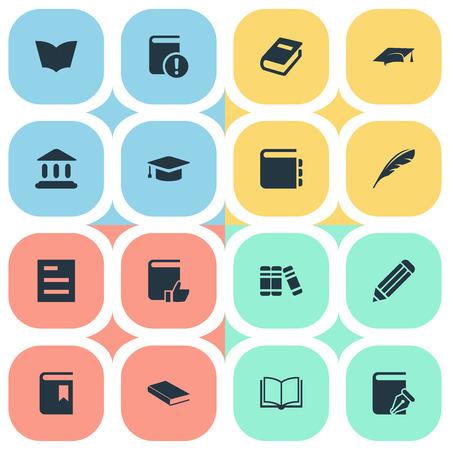 簡単な教育アイコンのベクター イラスト セット。要素のジャーナル、プルーム、ノートおよび他の同義語噴煙、支持し、書きます。