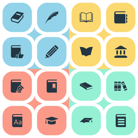 literature: Vector Illustration Set Of Simple Reading Icons. Elements Encyclopedia, Pen, Journal And Other Synonyms Pencil, Literature And Writing. Illustration
