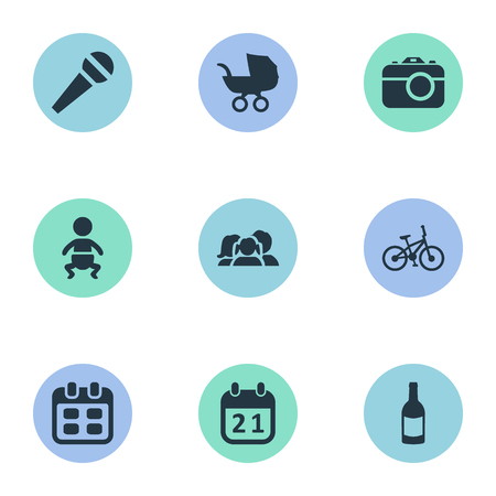 Vector Illustration Set Of Simple Birthday Icons. Elements Baby Carriage, Camera, Special Day And Other Synonyms Carriage, Speech And Voice. Illustration