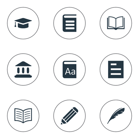 Vector Illustration Set Of Simple Knowledge Icons. Elements Encyclopedia, Plume, Library And Other Synonyms Writing, School And Blank.