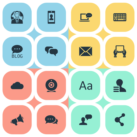 Vector Illustration Set Of Simple Blogging Icons. Elements Site, Argument, Share And Other Synonyms Network, Coming And Conversation.