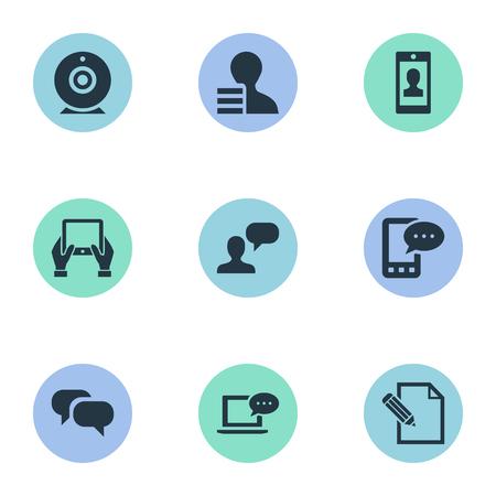 Vectorillustratiereeks Eenvoudige Gebruikerspictogrammen. Elementenwinst, Overweging, E-brief en andere synoniemen Roddelen, Conversatie en Camera. Stockfoto - 76255884