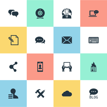 Vector Illustration Set Of Simple User Icons. Elements Laptop, Site, Keypad And Other Synonyms Blog, Network And Argument.
