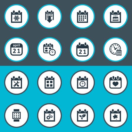 smart card: Vector Illustration Set Of Simple Plan Icons. Elements Reminder, Intelligent Hour, Snowflake And Other Synonyms Snowflake, Day And Wheel. Illustration