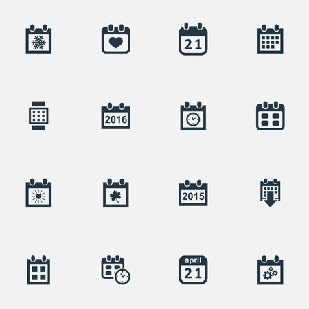 flotation: Vector Illustration Set Of Simple Time Icons. Elements Snowflake, Planner, Leaf And Other Synonyms Annual, Planner And Agenda.