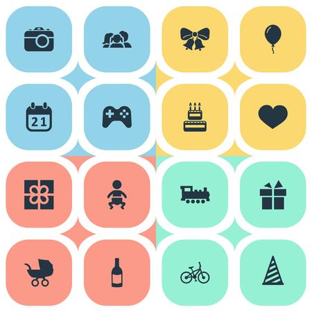 簡単なお祝いアイコンのベクター イラスト セット。要素の幼児、ゲーム、魂、その他類義語賞子供し、パーティーします。