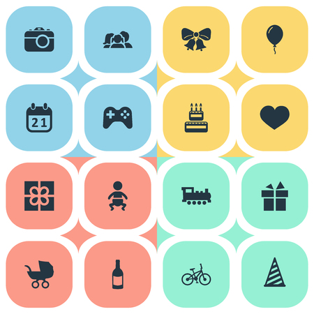 Vector Illustration Set Of Simple Celebration Icons. Elements Infant, Game, Soul And Other Synonyms Prize, Kid And Party.